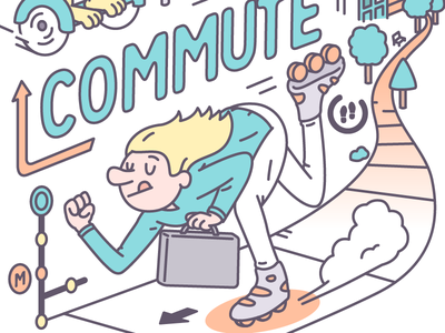 The daily commute train car city commute traffic hoverboard poster art line vector illustration