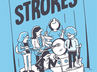 The Strokes - crop band music strokes line character vector illustration