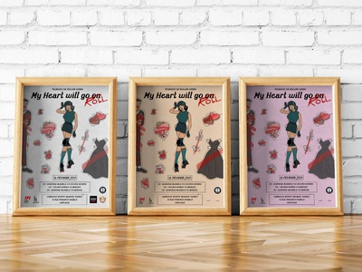 My heart will go roll poster design vintage poster art roller derby posterart poster illustration design