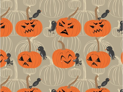 pumpkin and black bird halloween illustration vector art design vector illustration repeat pattern