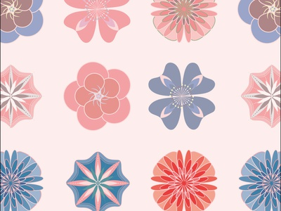 pink blue flowers repeating pattern seamlesspattern flat design surface pattern design vector art vector illustration repeat pattern design
