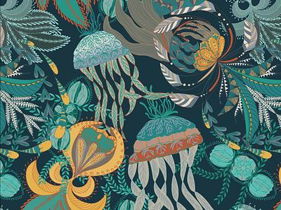 seacreatures vector art vector illustration repeat pattern design