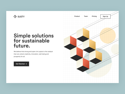 Susty Home page sustainable abstract hero section models simple future solution landing page design website clean website design