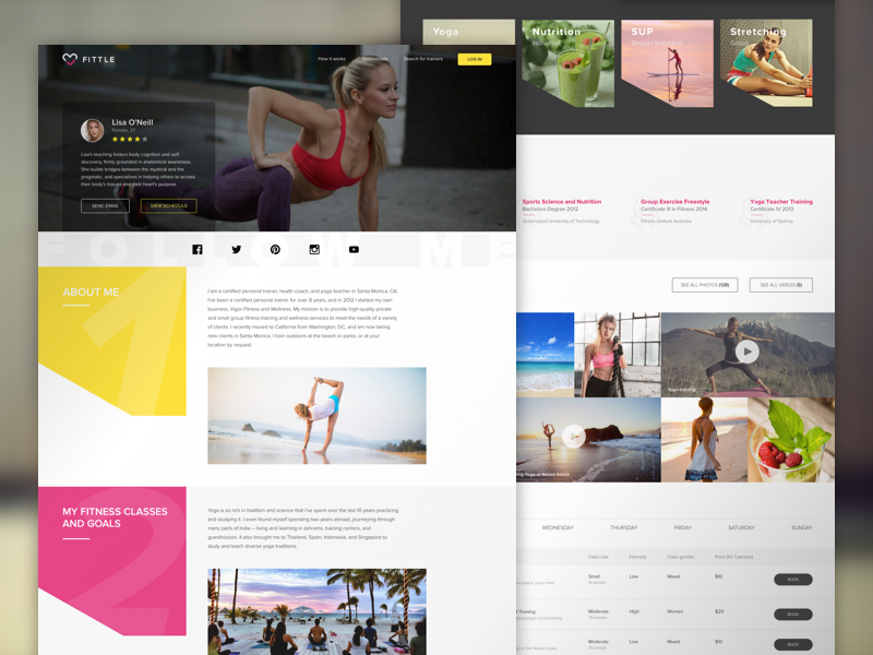 Personal Trainer Profile page lifestyle crossfit yoga website design fitness ui ux ui schedule profile sport clean fitness