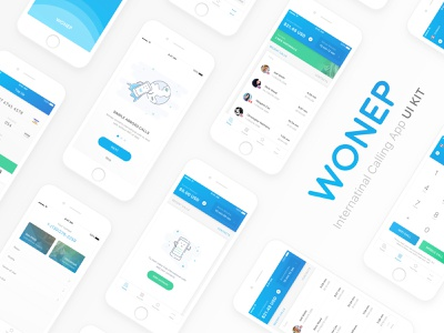 Wonep International Calling App UI Kit - Freebie minimal ux download calling app principle freebie interaction ios app mobile ui kit sketch sketch freebie