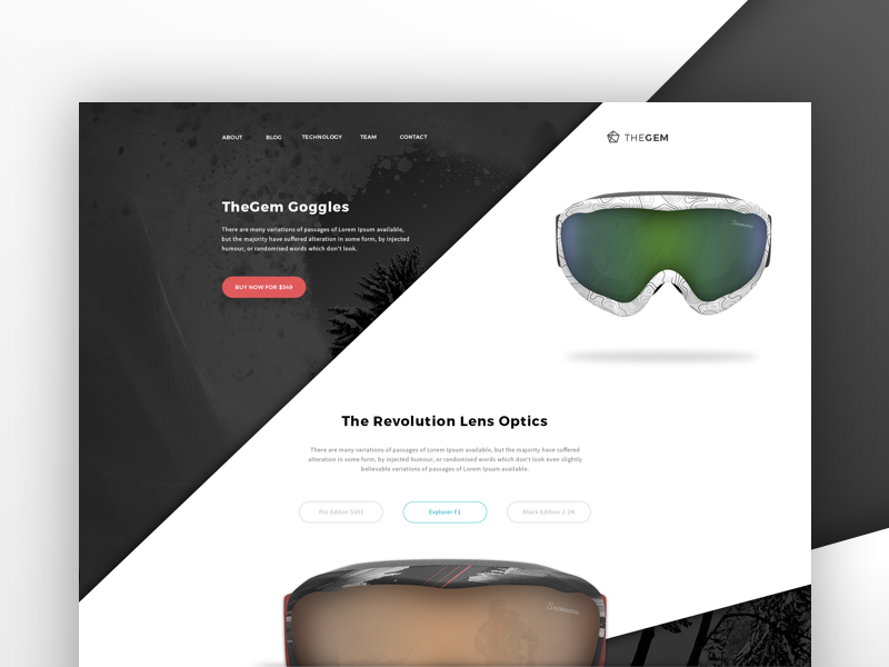 Product Page - Goggles sport template extreme concept design ui snowboarding product landing goggles website design product page