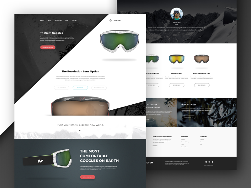 Product Page Goggles website design ui template sport snowboarding product page product landing goggles extreme concept design