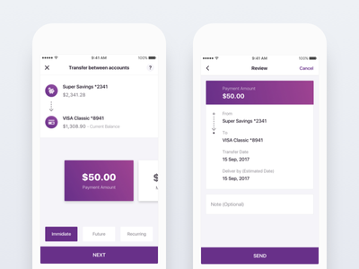Banking App - Transfers payment simple clean mobile banking credit transfers mobile ui ios banking app bank