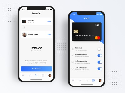 Trill Bank new bank banking app ios mobile ui mobile banking finance exchange currency credit card debit card transfer money
