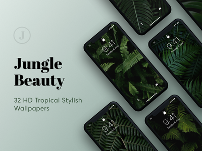Exclusive Collection: Jungle Beauty travel mockup wallpaper trendy organic background fresh style fern leaf jungle tropical summer green wallpapers