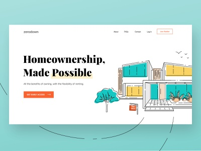 (WIP) Homepage for New Homeownership Service website illustration house line home landing page design landing page homepage clean design website design