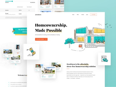 (WIP) Homepage for New Homeownership Service landing page design line illustration line illustrations line landing design landing page house homepage design homepage home clean illustration website design website design