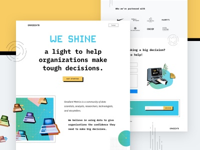 Gradient Metrics Landing Page analytics startup old style market research research data statistics landing page design landing page website design website design clean