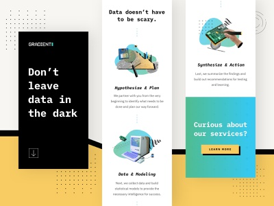 Gradient Metrics Illustrations responsive design startup market research analitycs research old style illustrations illustration data statistics