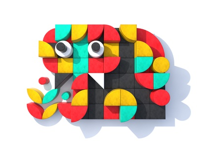 Baby Elephant icon creature elephant vibrant 3d shape abstract geometric minimalist minimal digital c4d visual design bright graphic design design illustration