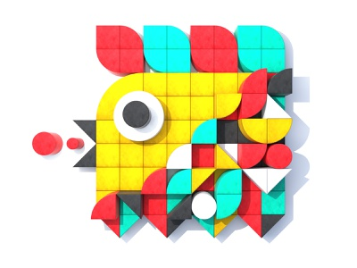 Geometric Bird graphic design geometric art abstract geometric maxonc4d maxon vibrant block bird icon minimal webdesign simple design shape bird illustration design colorful 3d illustration bright color