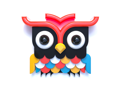 Owl geometric owl illustration digital minimal shape design art 3d c4d cinema4d simple vibrant color bright bird animal owl graphic design minimalist illustration icon design