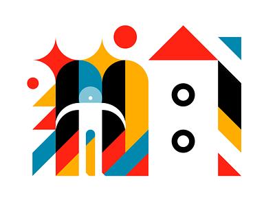 To The Stars minimal bright simple geometric design exploration star character austronaut rocket negative space logo vector illustration geometric art vector design graphic design geometric negative space 2d vector design illustration