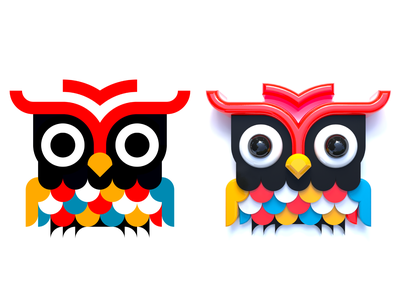 Owl (flat + 3D) colors pattern animal art vector design render cinema 4d simple design owl bright color simple animal nature illustrator flat icon 2d vector design illustration