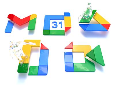 Google's new logos designer logos google logos c4d cinema 4d abstract human glass character branding logo design graphic design google logo icon 2d design illustration