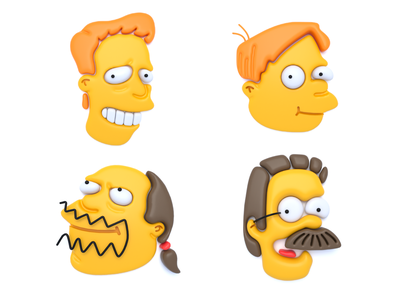 The Simpsons (part 3) graphic design design character design character iconic graphic art cinema4d c4d concept clean color cinema 4d illustration 3d illustration 3d