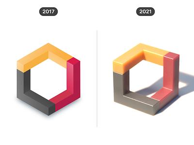 3D shapes (2017 vs 2021) render c4d progress cgi comparison creative graphic design 3d shape visual 3d 2d vector design illustration