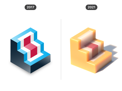 3D shapes (2017 vs 2021) creative visual concept shape geometric progress graphic design comparison cgi render cinema 4d c4d 3d icon vector design illustration