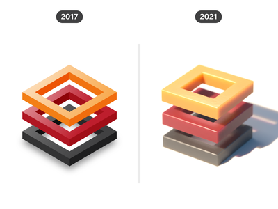 3D shapes (2017 vs 2021) concept cgi render cinema 4d c4d 3d shape geometric visual graphic design 2d 3d vector design illustration