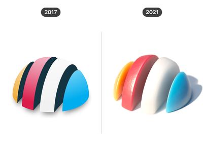 3D shapes (2017 vs 2021) illustration design vector icon 3d c4d cinema 4d render cgi comparison graphic design progress geometric shape concept visual creative