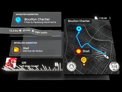 The future of in-car HMI c4d hmi automotive design vehicle car driving automotive head unit ui interface ar intelligence navigation medi graphic design design cinema 4d render