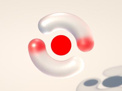 Attention geometric brand icon shape 3d design concept concept design cinema 4d c4d corona renderer 3d design cgi cg bold branding illustration red dot visual