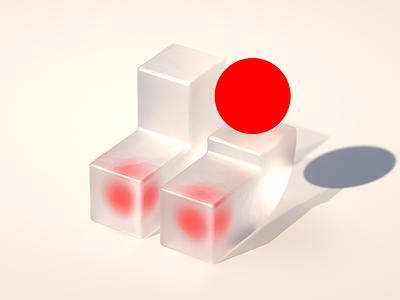 Not twins shape render render cgi cg shape geometric texture reflection concept design concept brand branding bold red dot design