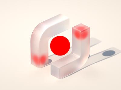 In-between realistic render artwork visualization concept bold red glass c4d cinema 4d 3d branding design illustration
