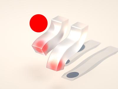 Wavy design branding brand icon concept design wave sphere bold red geometric shape cinema 4d cg cgi render 3d 3d design
