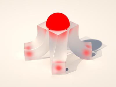 Synergy glass bold synergy branding brand red sphere sphere red illustration isometric geometric shape c4d cinema 4d cg cgi render 3d 3d design