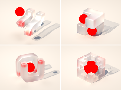 Give me a name shape geometric concept design concept glass brand branding render red sphere