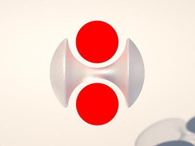 Symmetry bold red brand branding 3d logo vector logo render design illustration shape geometric symmetry