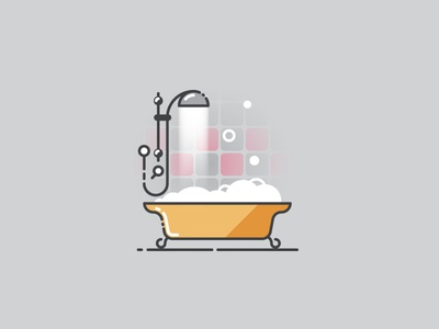 Time to have a bath - Infographic Template illustration pictogram bathroom illustrator vector water infographic foam icon soap bath
