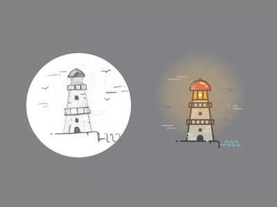 Lighthouse - From Sketch To Result badge pictogram icon building sketch shore sea marine light infographics infographic lighthouse