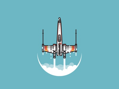 X-Wing starfighter illustration xwing outline vector illustration pictogram icon star wars starwars space fighter starfighter x-wing