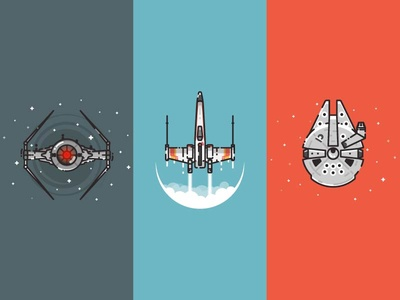 Star Wars spaceship illustrations