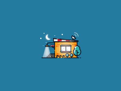 Night house outline illustration