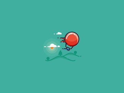 When wind is too strong - hot air balloon illustration clouds fly air hot sky visualisation nature wind balloon illustration icon hot air balloon