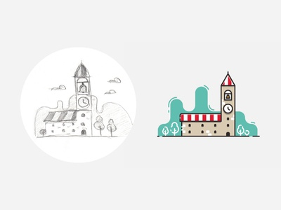 Clock tower illustration – from sketch to result. illustration flat outline icon visualization infographic vector process sketch clock tower clock tower
