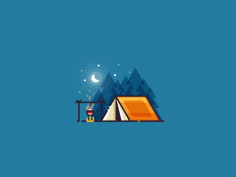 Camping - outline illustration moon adventure minimalistic fire flat outline illustration outdoors nature forest landscape camping