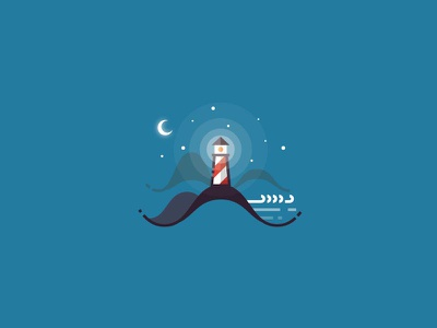 Lighthouse - minimalistic outline illustration water sea ocean light moon marine minimalistic simplicity flat icon outline lighthouse