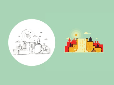 Waterfall - from sketch to result sun outline iconic icon vector illustration sketch process landscape nature water waterfall