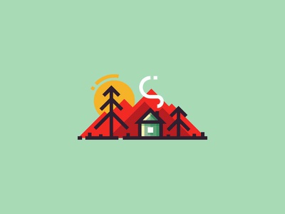 Alone in the forest flat mountains smoke landscape design vector illustration minimalistic 2d trees house forest