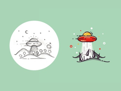 Mysterious forest - from sketch to result design light lineart forest aircraft 2d flat outline illustration vector sketch ufo