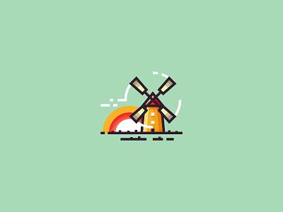 Windmill flat icon outline 2d illustration sunrise sun nature landscape wind windmill